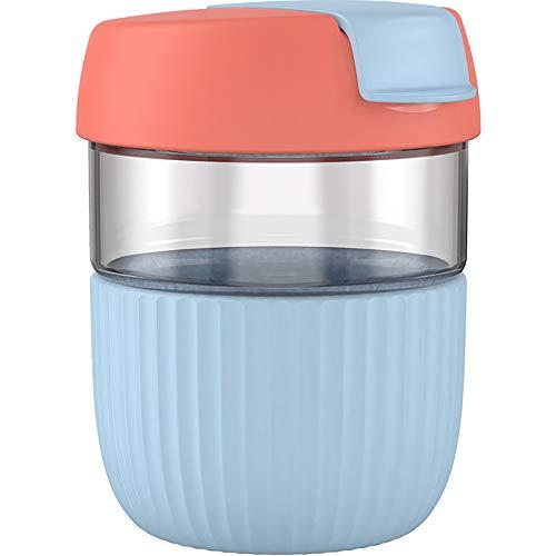 KISS KISS FISH Trinkflasche   360 ml / 12 oz Kaffeebecher   Auslaufsicher BPA-frei Glasflasche mit Silikonhülle und Deckel für Kinder, Schule, Büro, Zuhause   Spülmaschinenfest (Blau)