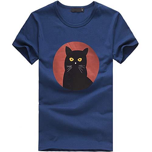 Tosonse Damen T-Shirt Shirts O-Ausschnitt Elegant Tops Stretch Tunika Katze Druck Blusen Strand Tee Kurzarm