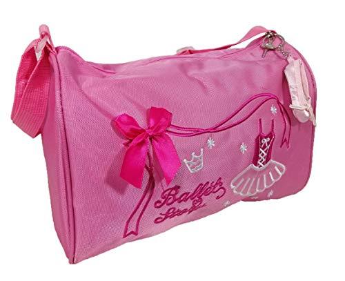 Avideso Balletttasche Mädchen Rosa + Ballettschuh Taschenanhänger-Helles Pink-Umhängetasche-Tragegriffe-Stickerei