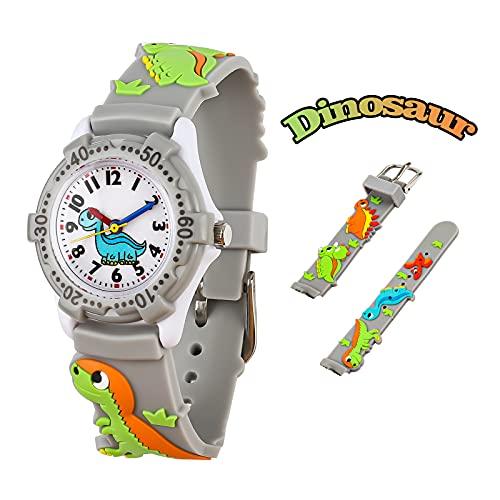 El Reloj de Niños de Vinmori, Reloj de Cuarzo con Dibujos Animados Bonitos de 3D a Prueba de Agua Regalo para Chicos Niños y Niñas Dinosaurio Gris