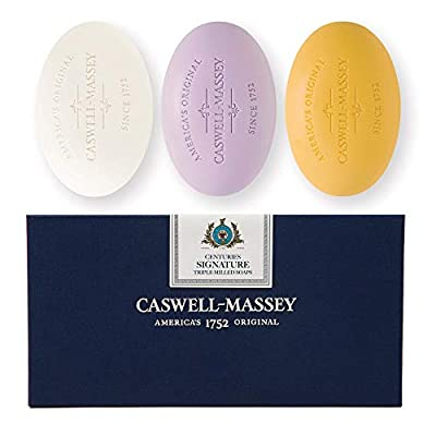 Caswell-Massey Triple Milled Luxury Bath Soap Signature Gift Set - Almond, Lavender, and Verbena - 5.8 Ounces Each, 3 Bars
