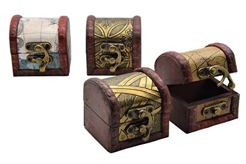 AMAHOFF Schatztruhe, 4er Set, Schmuckkästchen, Piratenschatztruhen, auch für Geldgeschenke und als Geschenkverpackung