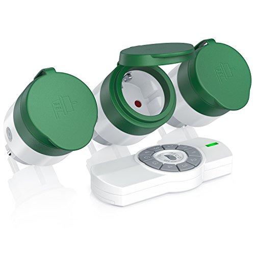 CSL - Funksteckdosen Set mit Fernbedienung - 3er Set für den Außenbereich Outdoor - LED-Statusanzeige blau - Spritzwassergeschützt - Kindersicherungsschutz - 3680W - IP44 - weiß grün matt
