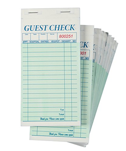 Juvale 10-Pack Guest Check Pads 2 Parts Carbonless 50 Sets per Server Pad Notepad for Waiter Waitress & Restaurant 3.4 x 7 Inches