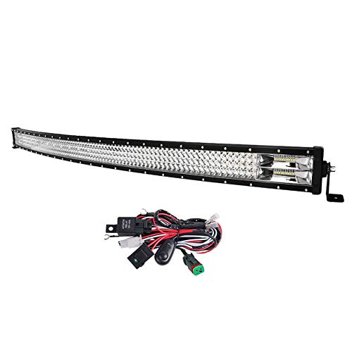 LIGHTFOX RFD-QR50BT-L 50inch Curved LED Light Bar Cree Triple Row Spot Flood Beam Driving Off-road 4x4 4WD SUV UTE