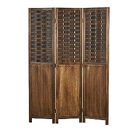 Homestyle4u 2023 Paravent en bois marron 3 parties aspect rotin