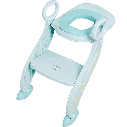 N \ A Verde Silla WC Reductor Retrete con Escalera,Capacidad de Carga 75kg,Seguro, Antideslizante Reductor de Inodoro para Niños