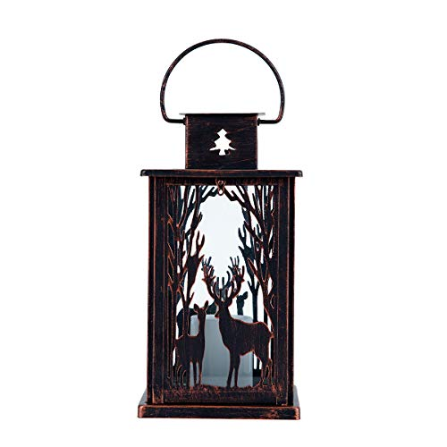 hourflik Solar Lantern,Outdoor Garden Hanging Lantern-Waterproof LED Flickering Flameless Candle Mission Lights for Table,Outdoor,Party (Copper)