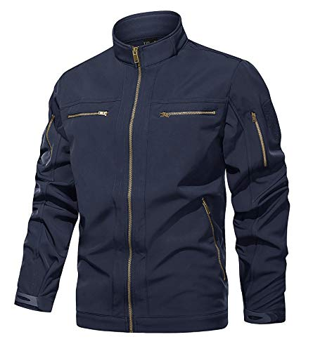 KEFITEVD Chaqueta de forro polar resistente al agua para hombre, 6 bolsillos con cremallera, chaqueta de pesca, softshell táctica cortavientos, Hombre, azul marino, XL