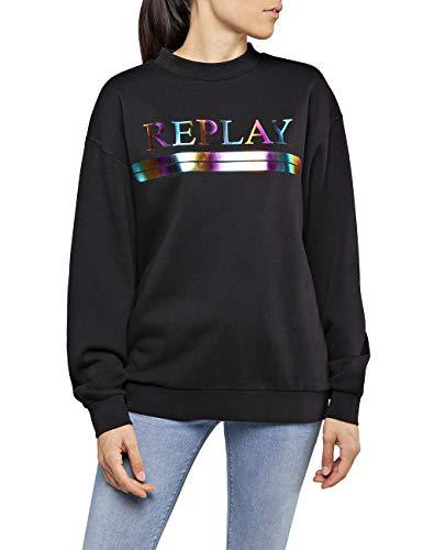 Replay Damen W3269 .000.21842 Sweatshirt, Schwarz (Black 98), XX-Small (Herstellergröße: XXS)