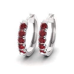 Ruby Gemstone Huggies Earrings in 14K White Gold