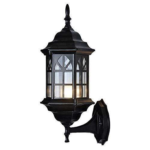 Exterieur lampen, Outdoor muur Licht/Lantaarn, Grote Outdoor Porch Lichte Inrichtingen Wall Mount in mat zwarte afwerking Met Glas Lampekap, Aluminium