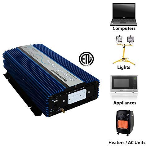 AIMS Power PWRI200012120S Pure Sine Power Inverter, 2000 Watt Continuous Power, 4000 Watt Peak Power, 12V DC, USB Port, Listed to UL 458, 2 Year Warranty, GFCI Outlet
