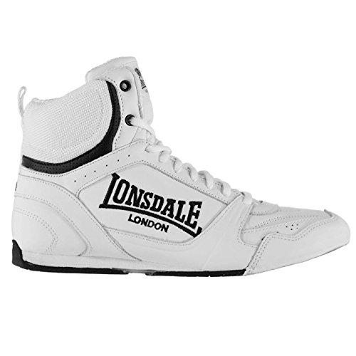 Lonsdale, stivali da boxe da uomo, con lacci, scarpe sportive., Bianco (bianco e nero.), 42 2/3 EU