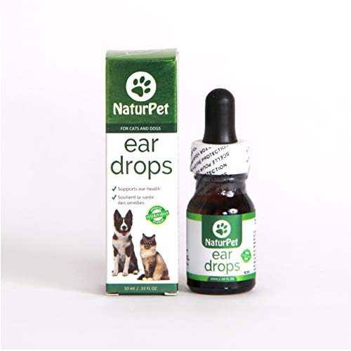 NaturPet Ear Drops for Dogs & Cats | Use for Cleaning, Prior to Swimming, Stinky, Smelly Ears, Itchy Ears | All Natural Herbal Drops 10mL