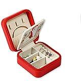 Caja de almacenamiento de la joyería Pequeño organizador de la caja de la joyería del viaje con la caja del almacenamiento de la exhibición del espejo para los anillos collar de los pendientes conveni