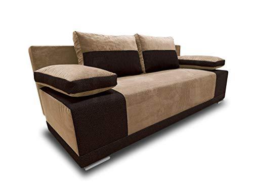 Schlafsofa Roxy - Bettsofa, Sofa mit Schlaffunktion, Klappsofa mit Bettfunktion, mit Bettkasten, Couchgarnitur, Couch, Sofagarnitur (Beige + Braun (Doti 24 + Bering 28))
