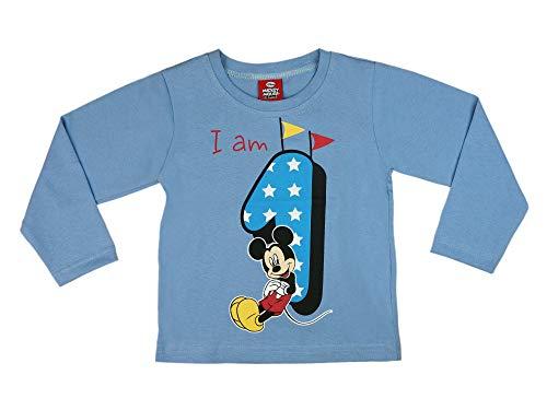 Jungen Baby Kinder 1. erster Geburtstag Langarm T-Shirt 1 Jahre Baumwolle Birthday Outfit GRÖSSE 86 Mickey Mouse Disney Weiss Blau Babyshirt Oberteil Hemd Polo Farbe Blau