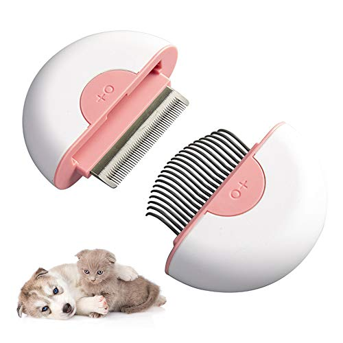 2-in-1 Pet Comb Cat Dog Grooming Hair Removal Shedding Cleaning Brush Massage Tools Best Pet Hair Comb for Home Grooming Kit,Pink
