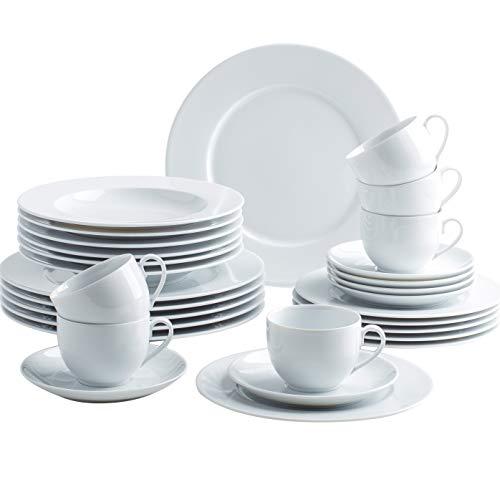 Kahla 050813M90005B Aronda weiß Geschirrset 30-teilig Porzellan Tafelservice für 6 Personen Weiss rund Suppenteller großer Speiseteller Tassen Snackteller
