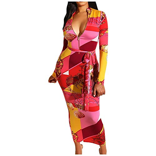Briskorry abschlussball kleider damen Cocktailkleider Sexy Mode Drucken Deep V Lange Ärmel Festlich Partykleid Wickelkleid Ballkleid Paket Hip Kleid Dress