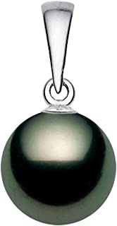 14K White Gold AA+ Quality Black Tahitian Cultured Pearl Pendant for Women - PremiumPearl