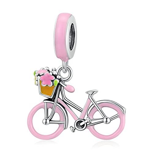 HMMJ Abalorio Colgante de Plata de Ley 925 para Mujer, Colgante de Bicicleta Rosa Estilo Pastoral Hecho a Mano para niña para Pandora Chamilia y Pulseras y Collares Europeos