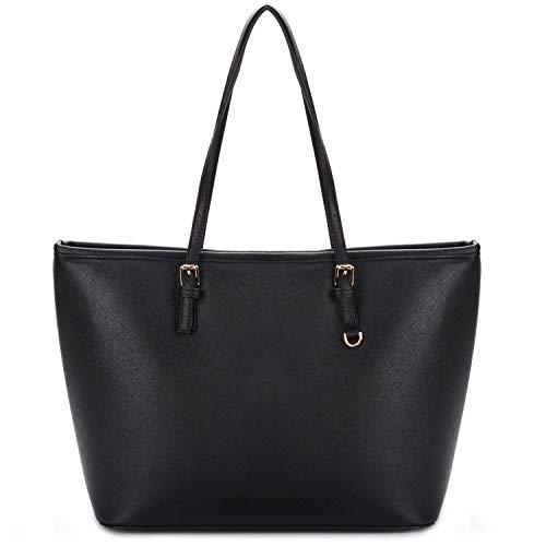 COOFIT Damen Handtasche, Shopper Handtasche Schwarz Damentasche PU Leder Handtasche Elegant Groß Damen Tasche für Schule Einkauf