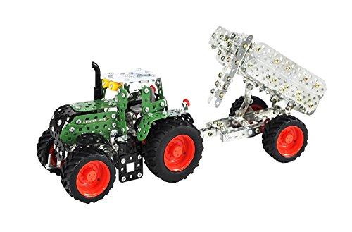 Tronico 10021 - Metallbaukasten Traktor Fendt 313 Vario mit Kippanhänger, Maßstab 1:32, Mini Serie, grün, 759 Teile