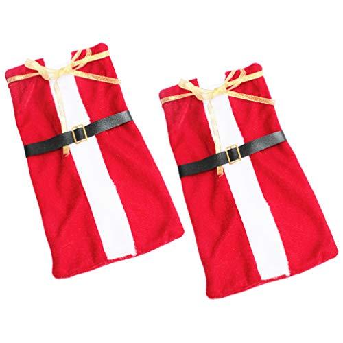 Cabilock Lot de 2 housses de bouteille de vin de Noël pour costume de Père Noël