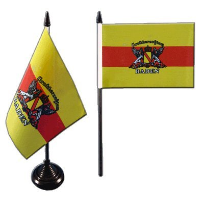 Flaggenfritze Tischflagge/Tischfahne Deutschland Großherzogtum Baden + gratis Aufkleber