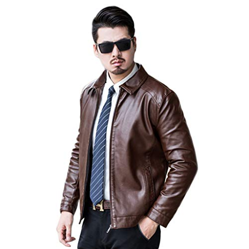 Heren Zwarte Outdoor Casual Trench Jas Motorbike Slim-Fit Racing Biker Lederen Jas Mannen Bruin Warm Motorfiets Top