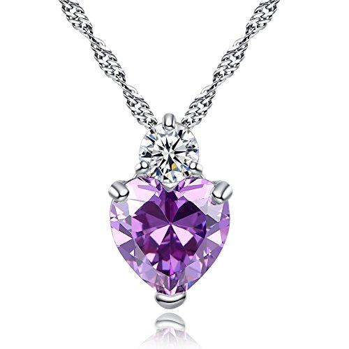 Fablcrew élégant pendentif Pendentif en argent avec forme de cœur de Noël de Saint-Valentin Cadeau, Cuivre, violet, Small