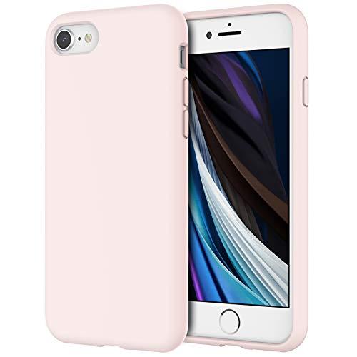 JETech Cover in Silicone Compatibile iPhone SE 2020/8 / 7, Custodia Protettiva con Tutto Il Corpo Tocco Morbido setoso, Cover Antiurto con Fodera in Microfibra, Rosa