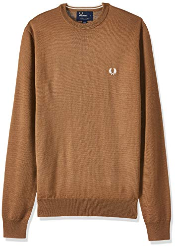 Fred Perry Hommes Pull col Laine S Caramel Foncé