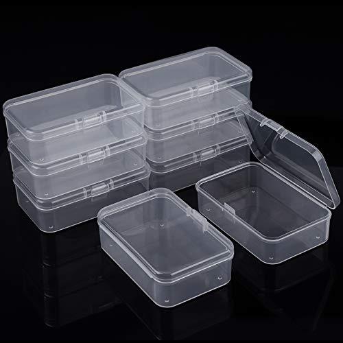 Paquete de 8 recipientes de plástico transparente con tapa, caja de almacenamiento de cuentas para joyas, tapones para los oídos para objetos pequeños, pequeñas cuentas, monedas, dulces