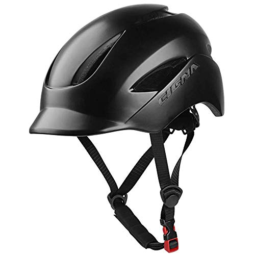 MOKFIRE Adult Bike Helmet That's Light, Cool & Sleek, Bicycle Cycling Helmet CPSC and CE Certified with Rear Light for Urban Commuter Adjustable Size for Adult Men/Women - Black