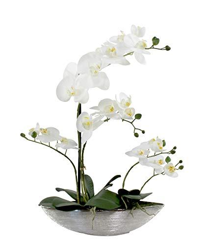 DARO DEKO Kunst-Pflanze Orchidee Schiffchen Topf Silber glänzend und weiße Blüten 53cm hoch