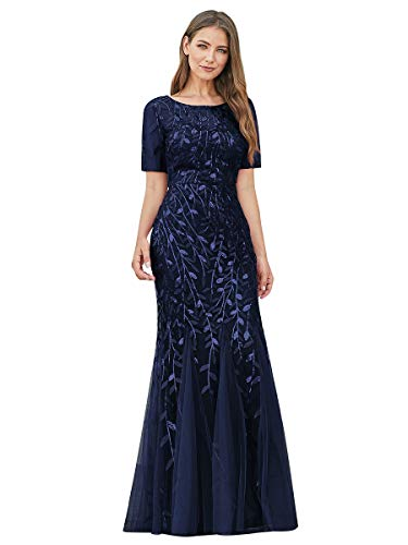 Ever-Pretty Damen Abendkleid Meerjungfrau Pailletten Tüll Partykleid Kurze Ärmel lang Navy blau 46