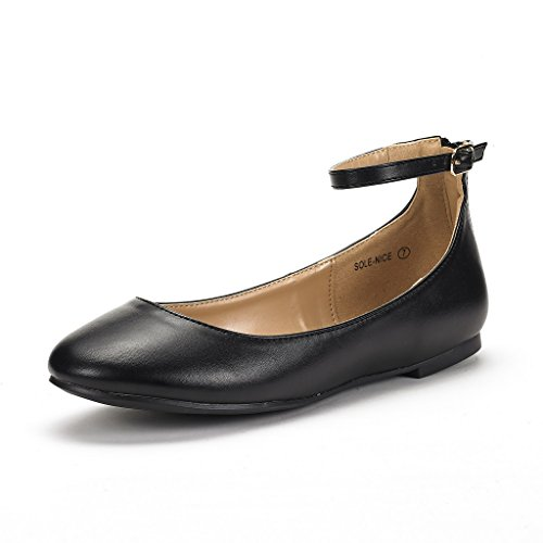 DREAM PAIRS Women's Sole-Nice Black Pu Ankle Strap Walking Flats Shoes - 7 M US