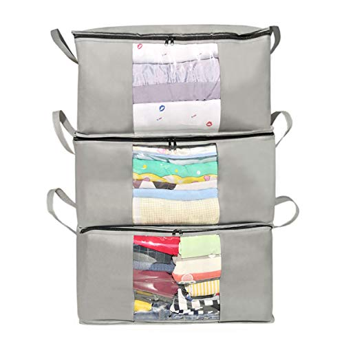 AUKA Large Capacity Foldable Clothes Storage Bag Organizer with Reinforced Handle for ClothingComfortersBlanketsBeddingwith Clear WindowSturdy Zipper3 Pack Grey
