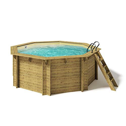 Paradies Pool® Holzpool Kalea Einzelbecken inkl. Zubehör, Edelstahlleiter Tiefbecken, Folie Sand mit 0,8mm Stärke, Achteck-Pool, 436 x 138 (Ø x H), Menge: 1 Stück