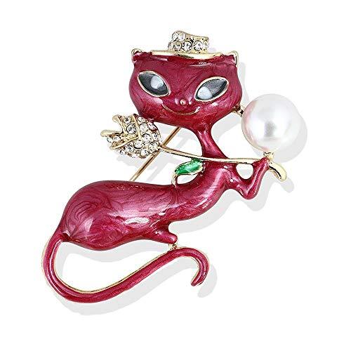Ludage Exquisito Broches para Ropa Mujer Aleación de Aceite Pintura Esmalte Rosa Accesorios de Gato Persa Perlas Broche Pin Broche niña