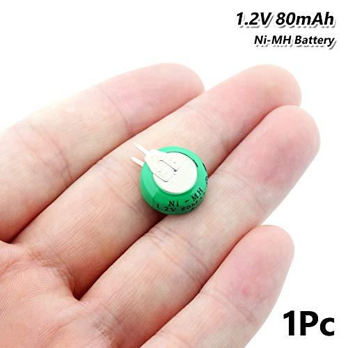 Green Power - Pila de botón Ni-MH (1,2 V, 80 mAh, Recargable, con Clavijas, 1,2 V, 80 mAh, Ni-MH, Recargable, con Dos pestañas)