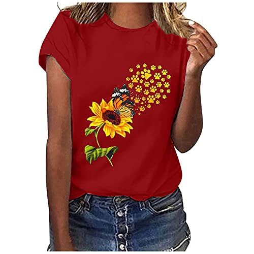 Summer Women Cute Graphic Tshirt Tops Ladies Trendy Sunflower Print Casual Loose Fit Short Sleeve Crewneck Blouse Tee