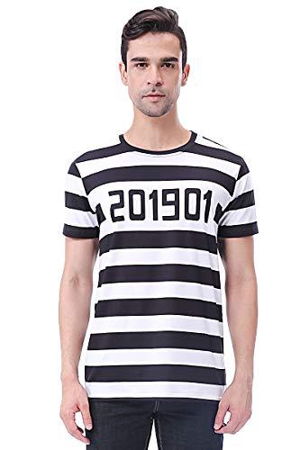 COSAVOROCK T-Shirt Costume da Prigioniero Uomo (M, Striscia)