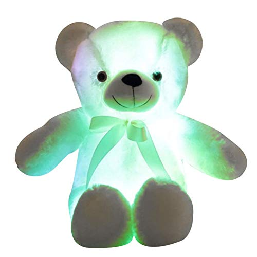 Kuscheltier, LED LED Induktive Teddybär Kuscheltiere Plüschtier Bunt leuchtend Teddybär Spielzeug Geschenke für Schlafzimmer Kinder Weihnachten Valentinstag (Weiß, 70cm)