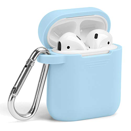 Airpods Case, GMYLE Silicone Protective Shockproof Wireless Charging Airpods Earbuds Case Cover Skin with Keychain kit Set, Women Girls Men, Compatible for Apple AirPods 2 & 1 – Sky Blue