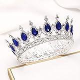 Fairyu Crowns & Tiaras Baorque Silver Rhinestone Vintage Bride Crowns Wedding Royal Birthday Crown Cake Topper Costume Headband Tiara for Women & Girls (Silve & Blue)