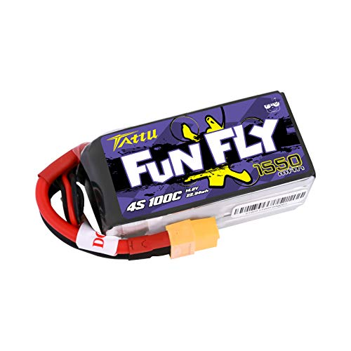 Tattu FunFly 4S 1550mAh 100C 14.8V LiPo Battery Pack with XT60 Plug for RC Boat Heli Airplane UAV Drone FPV Skylark Emax Nighthawk 250 Practice